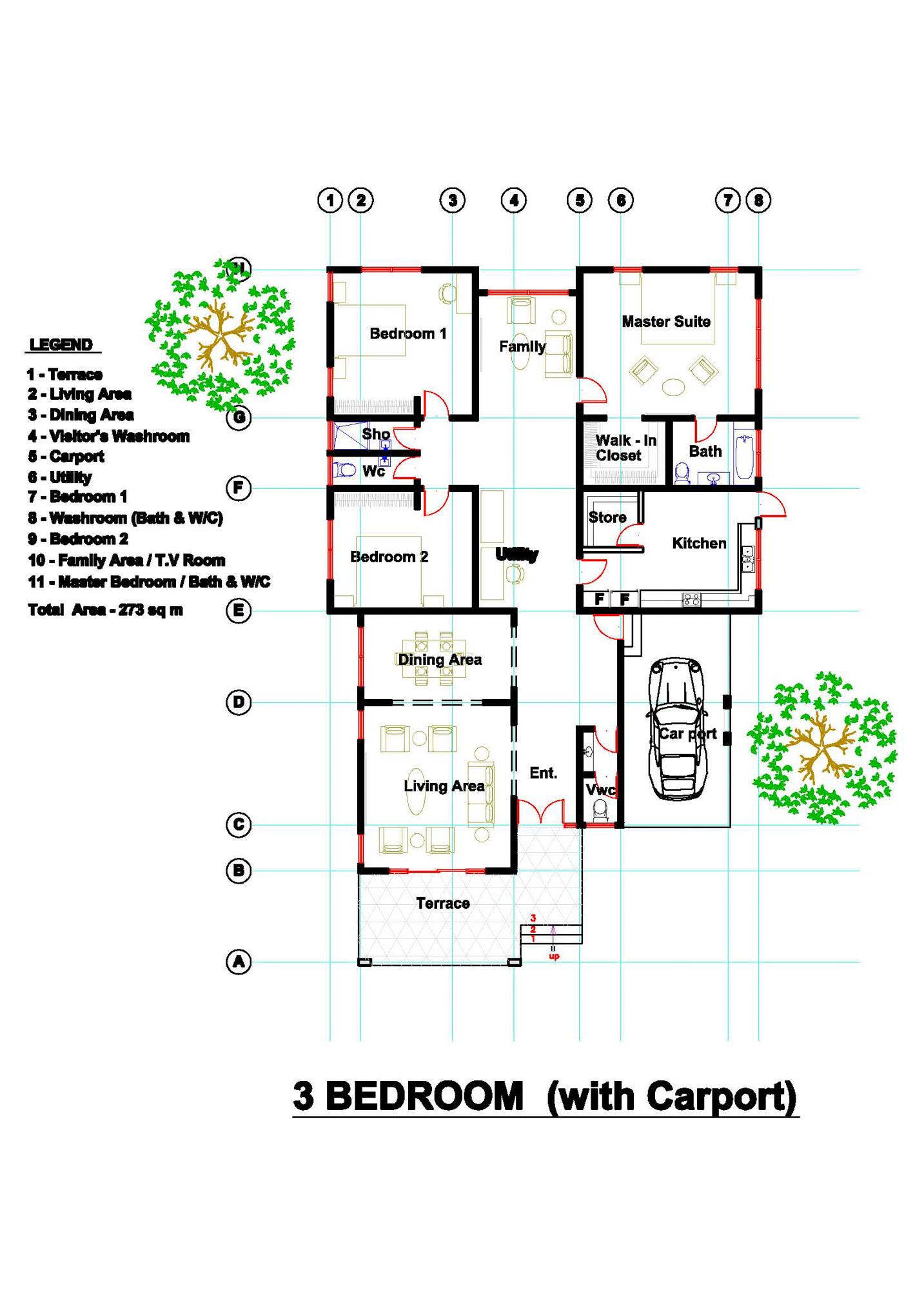 3 Bedroom (with carport) Floor Plan