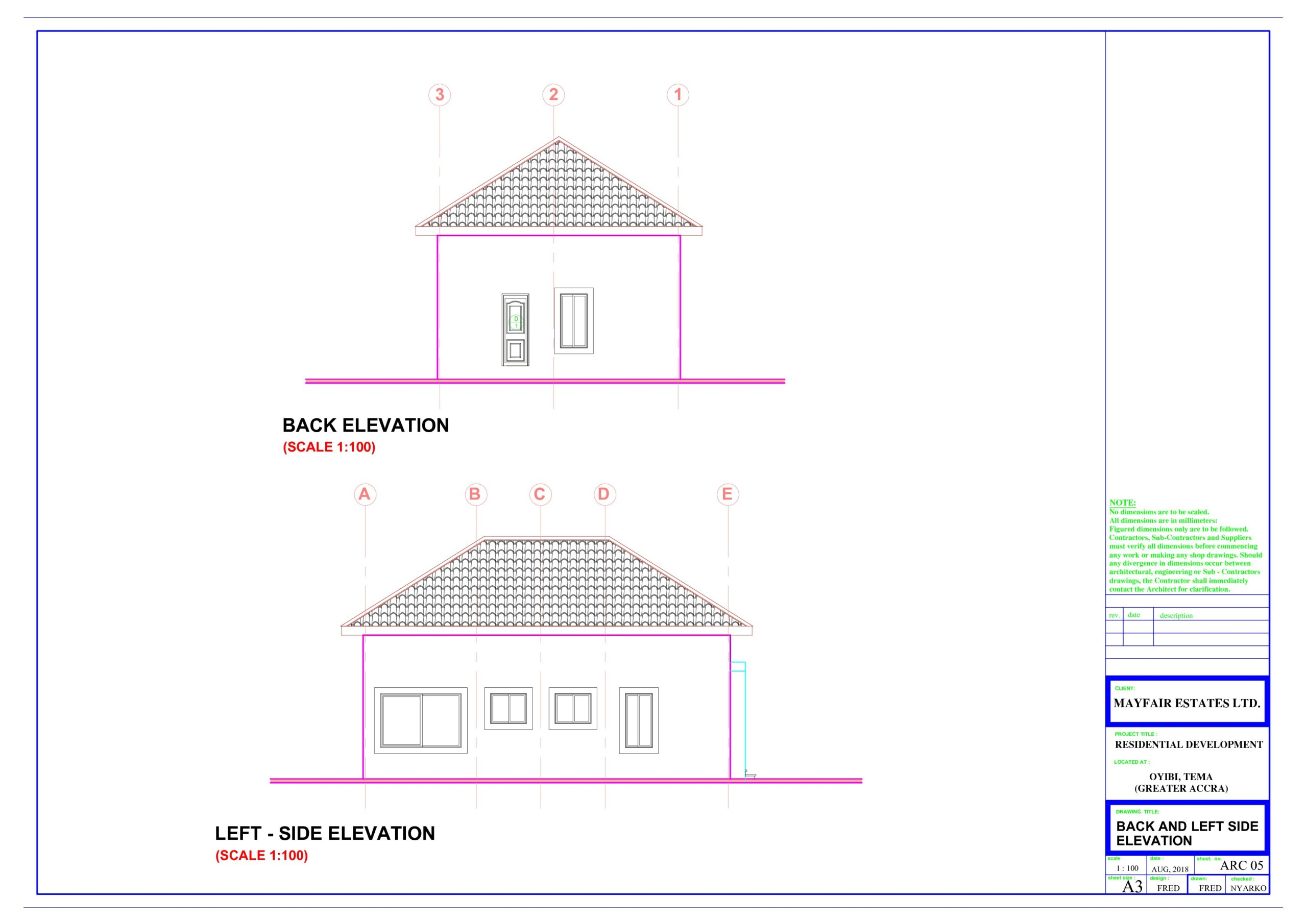 Back and Left Side Elevation